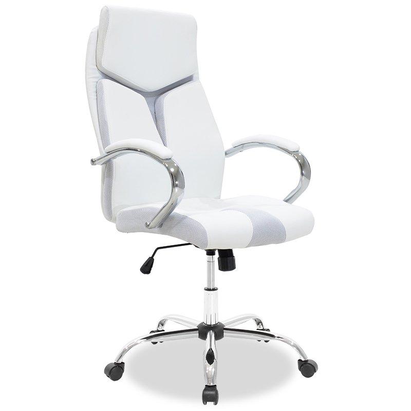Καρέκλα γραφείου διευθυντή SHARK pakoworld τεχνόδερμα λευκό-γκρι