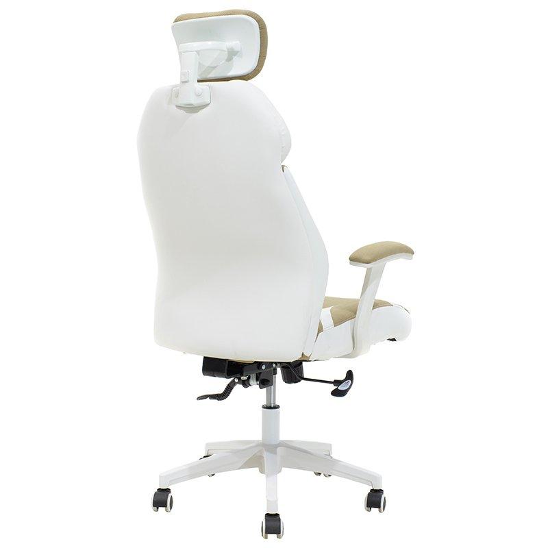 Καρέκλα γραφείου διευθυντή MOMENTUM Bucket pakoworld μπεζ ύφασμα Mesh-πλάτη pu λευκό