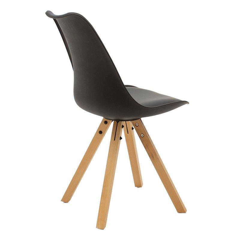 Καρέκλα Caron pakoworld pp χρώμα μαύρο - φυσικό