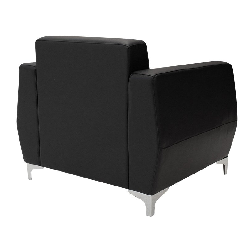 Πολυθρόνα Dermis pakoworld inox-τεχνόδερμα μαύρο 88x75x75εκ