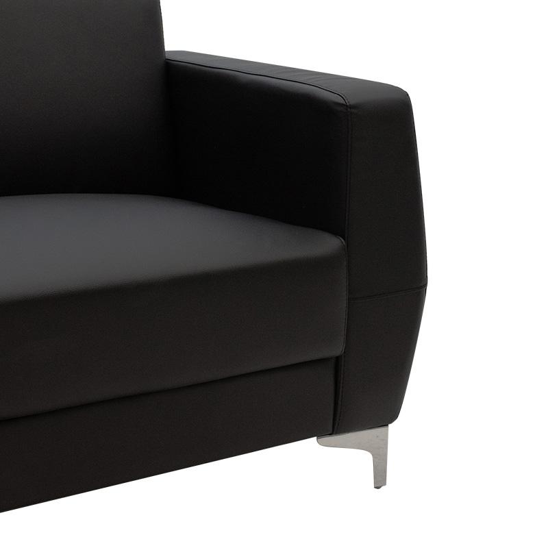 Καναπές 2θέσιος Dermis pakoworld inox-τεχνόδερμα μαύρο 138x75x75εκ