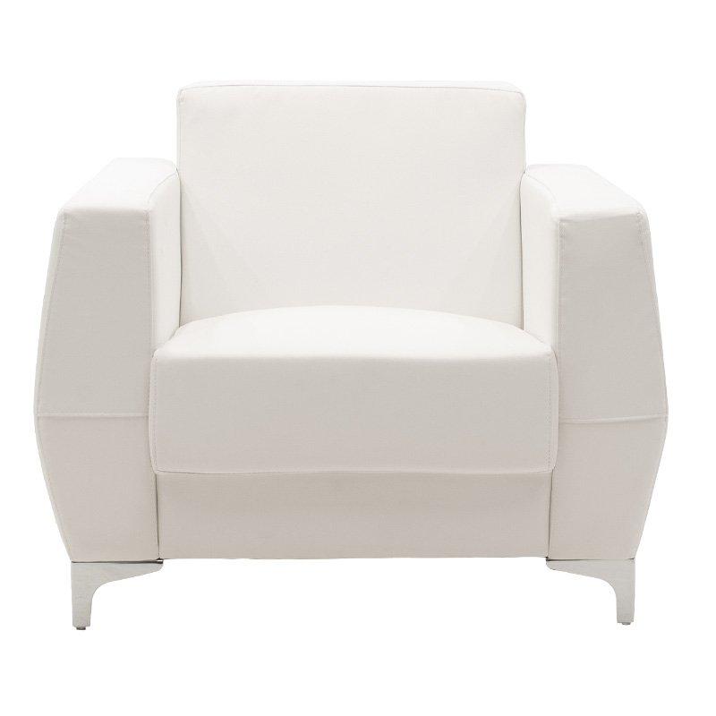 Πολυθρόνα Dermis pakoworld inox-τεχνόδερμα λευκό 88x75x75εκ