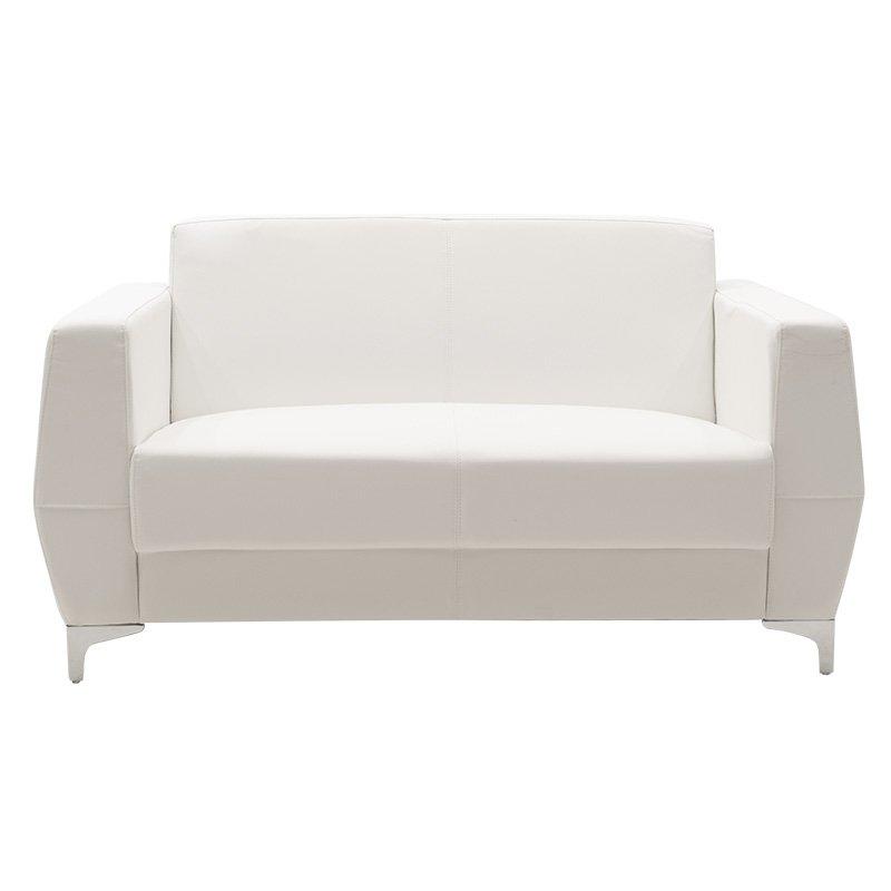 Καναπές 2θέσιος Dermis pakoworld inox-τεχνόδερμα λευκό 138x75x75εκ