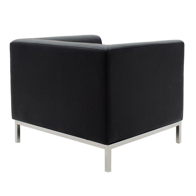 Πολυθρόνα Professional pakoworld inox-τεχνόδερμα μαύρο 85x75x66εκ