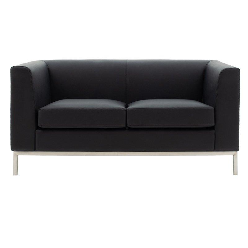 Καναπές 2θέσιος Professional pakoworld inox-τεχνόδερμα μαύρο 140x75x66εκ