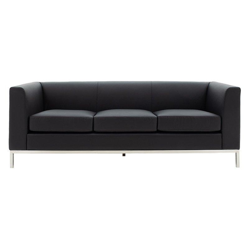 Καναπές 3θέσιος Professional pakoworld inox-τεχνόδερμα μαύρο 192x75x66εκ