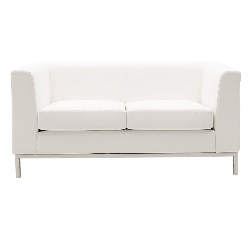 Καναπές 2θέσιος Professional pakoworld inox-τεχνόδερμα λευκό 140x75x66εκ