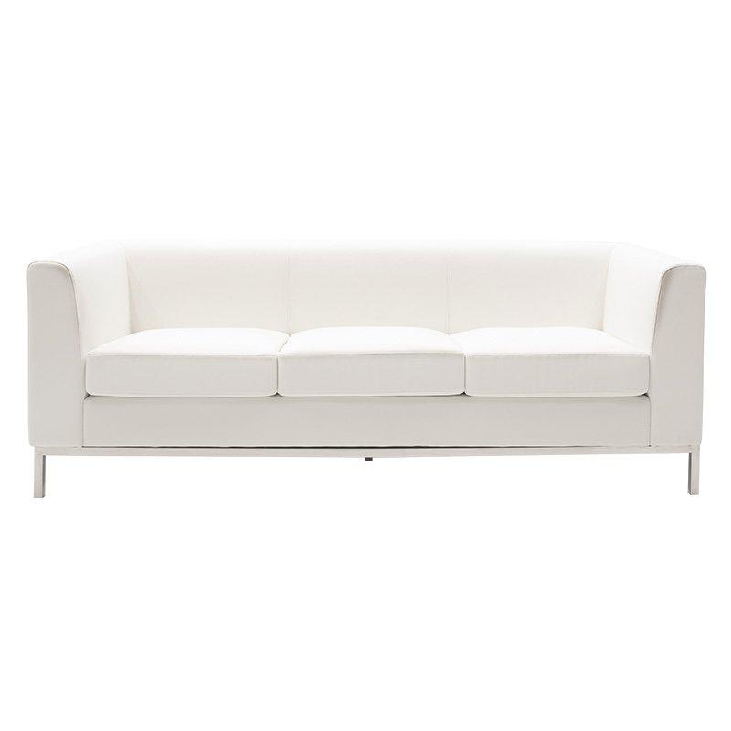 Καναπές 3θέσιος Professional pakoworld inox-τεχνόδερμα λευκό 192x75x66εκ