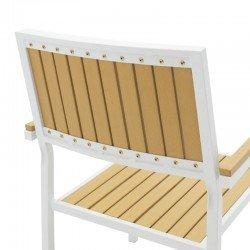 Πολυθρόνα κήπου Tessa pakoworld μέταλλο λευκό-φυσικό
