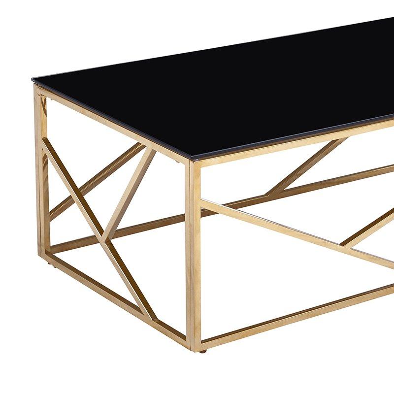 Τραπέζι σαλονιού Tabar pakoworld ατσάλι χρυσό-γυαλί 8mm μαύρο 120x60x40εκ