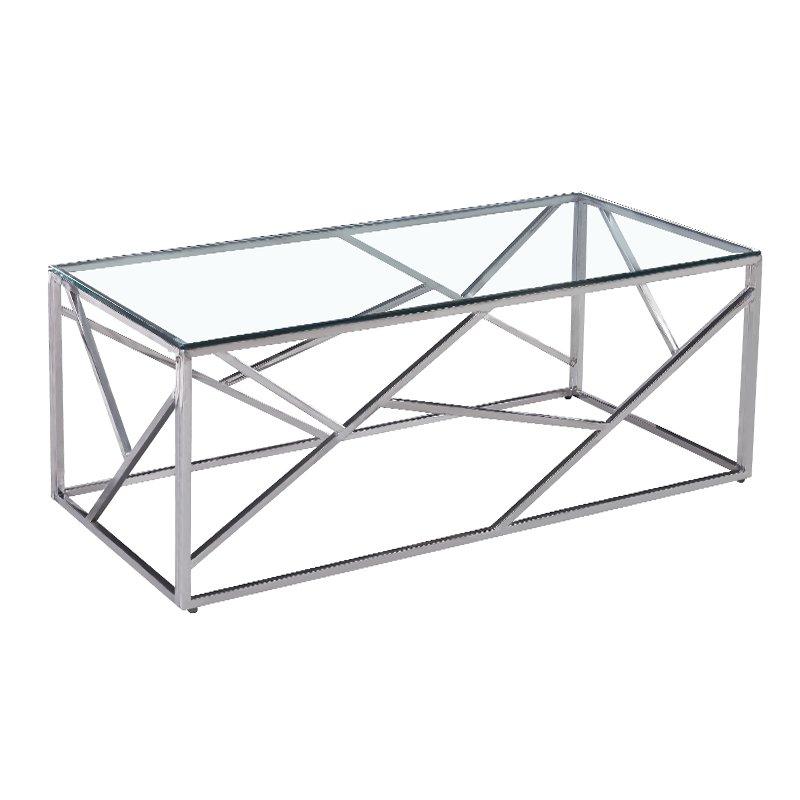 Τραπέζι σαλονιού Mabs pakoworld ατσάλι ασημί-γυαλί 8mm 120x60x40εκ