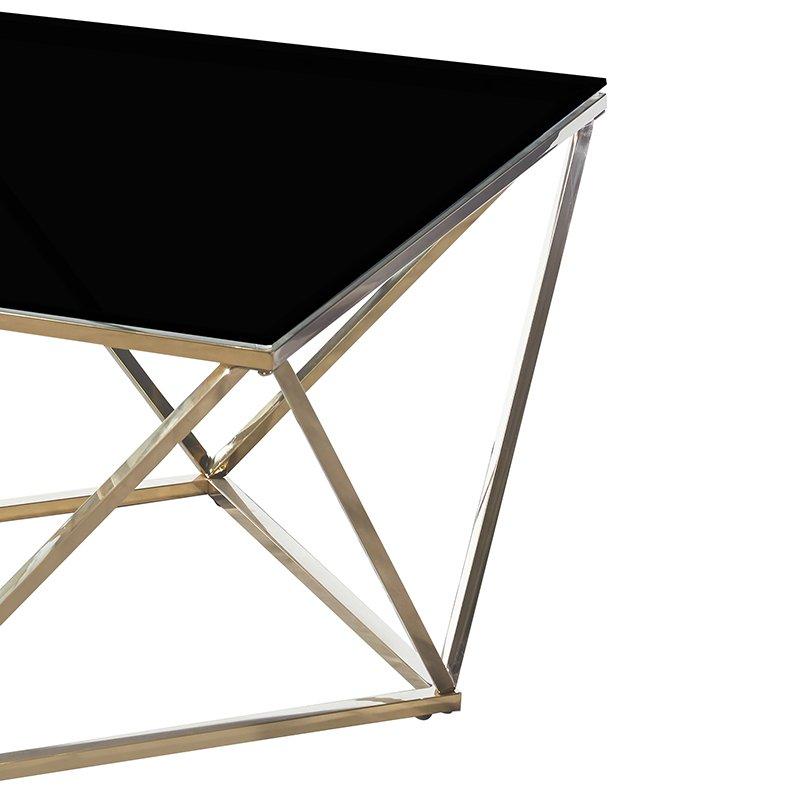 Tραπέζι σαλονιού Kadar pakoworld ατσάλι χρυσό-γυαλί 8mm μαύρο 80x80x45εκ