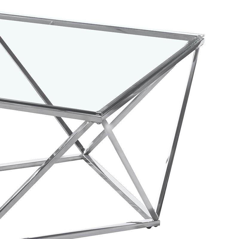 Tραπέζι σαλονιού Kadar pakoworld ατσάλι ασημί-γυαλί 8mm 80x80x45εκ