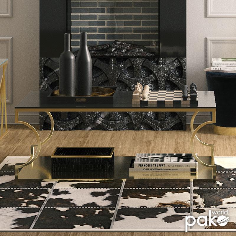 Tραπέζι σαλονιού Dair pakoworld ατσάλι χρυσό-γυαλί 8mm μαύρο 120x60x45εκ