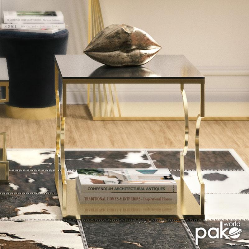 Βοηθητικό τραπέζι σαλονιού Dair pakoworld ατσάλι χρυσό-γυαλί 8mm μαύρο 55x55x55εκ