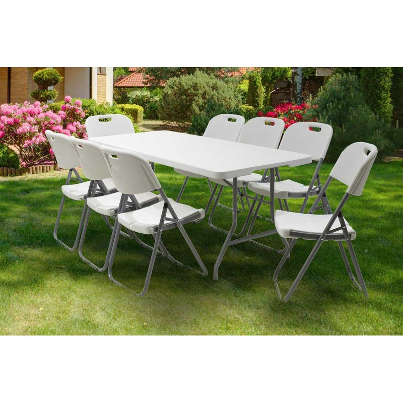 Τραπέζι catering Rodeo pakoworld πτυσσόμενο-βαλίτσα λευκό 183x76x74εκ