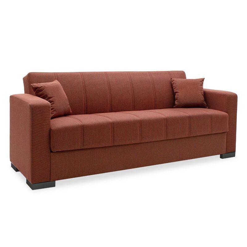Kαναπές κρεβάτι Qiuest pakoworld 3θέσιος ύφασμα κεραμιδί 210x80x80εκ