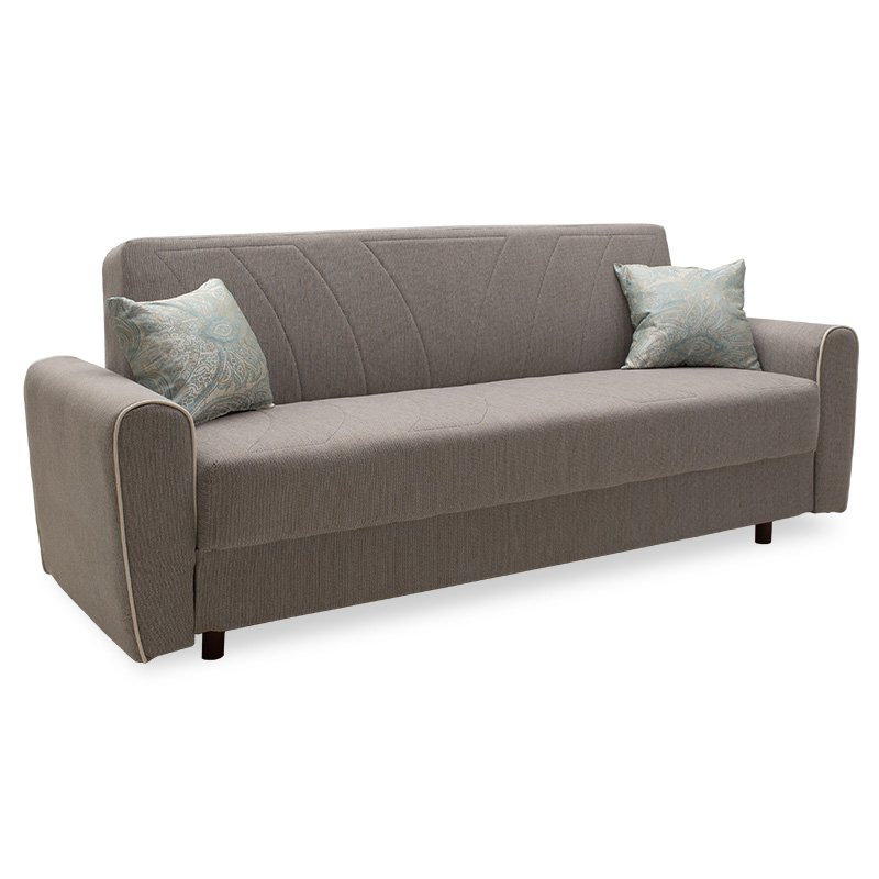 Kαναπές κρεβάτι Demie pakoworld 3θέσιος ύφασμα μπεζ-γκρι 220x85x87εκ