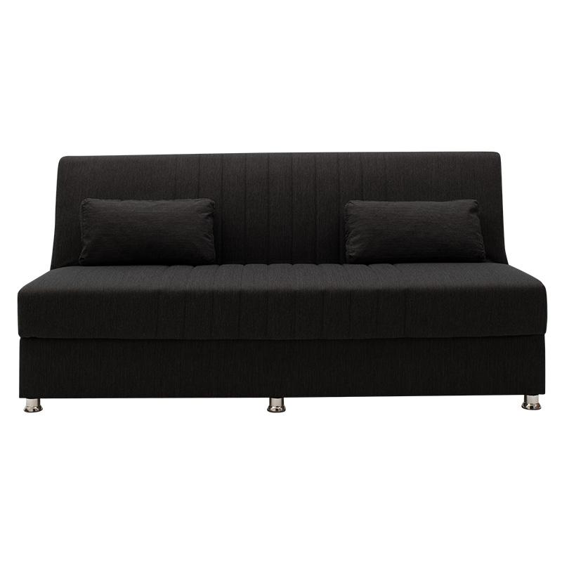 Καναπές κρεβάτι Sambo pakoworld 3θέσιος ύφασμα μαύρο 190x86x85εκ
