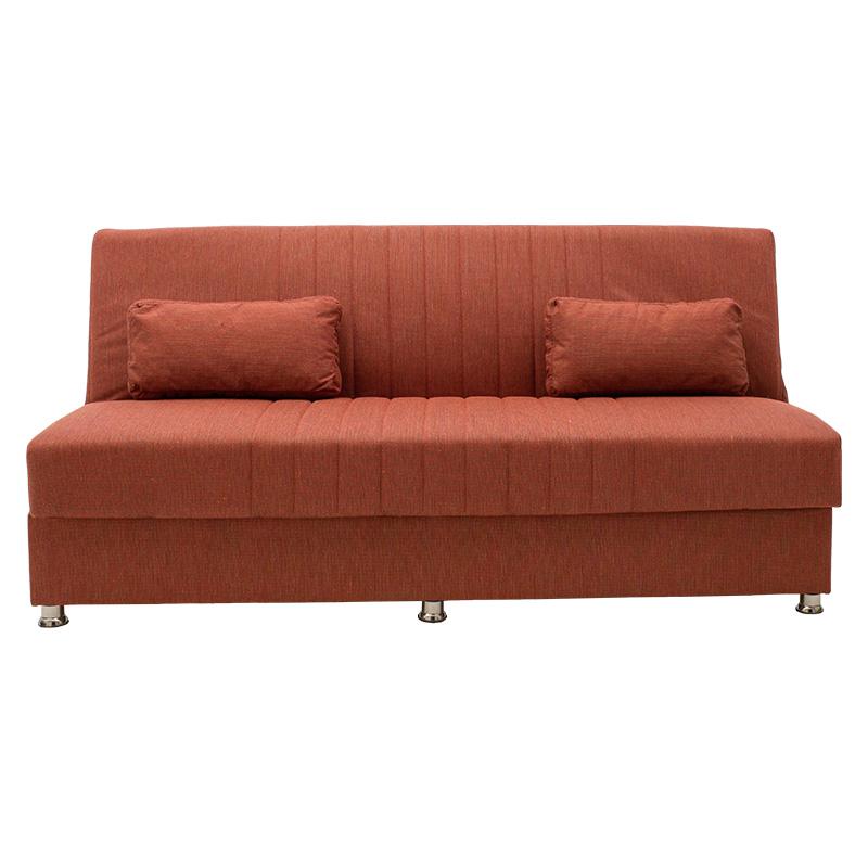 Καναπές κρεβάτι Sambo pakoworld 3θέσιος ύφασμα κεραμιδί 190x86x85εκ