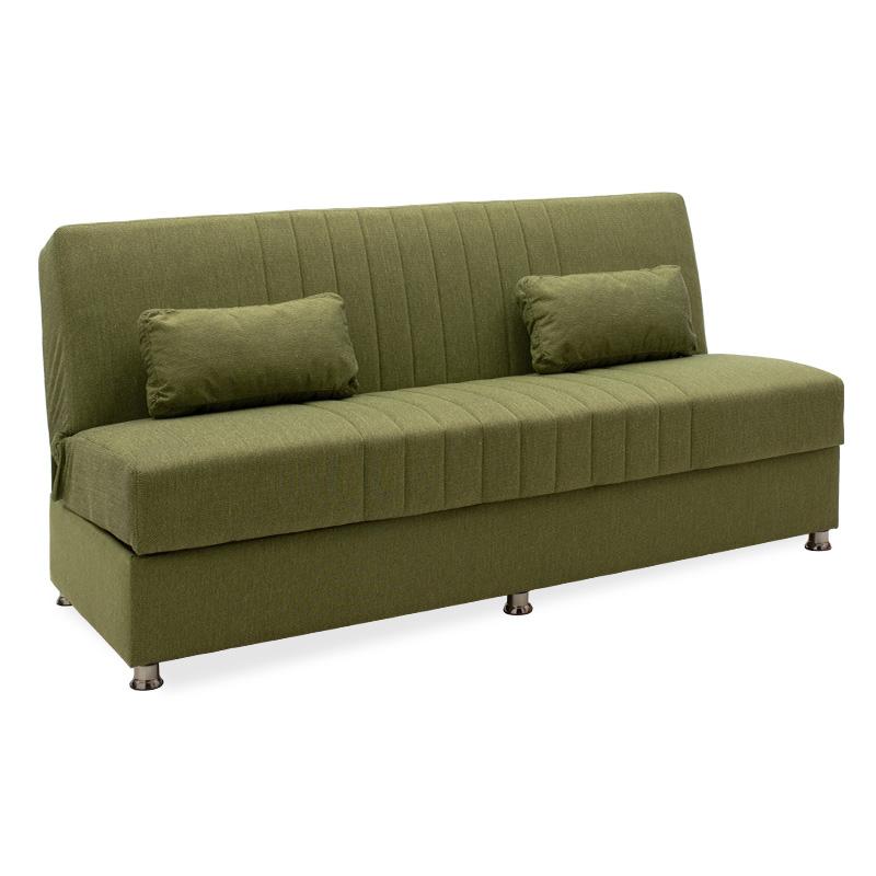 Καναπές κρεβάτι Sambo pakoworld 3θέσιος ύφασμα λαχανί 190x86x85εκ