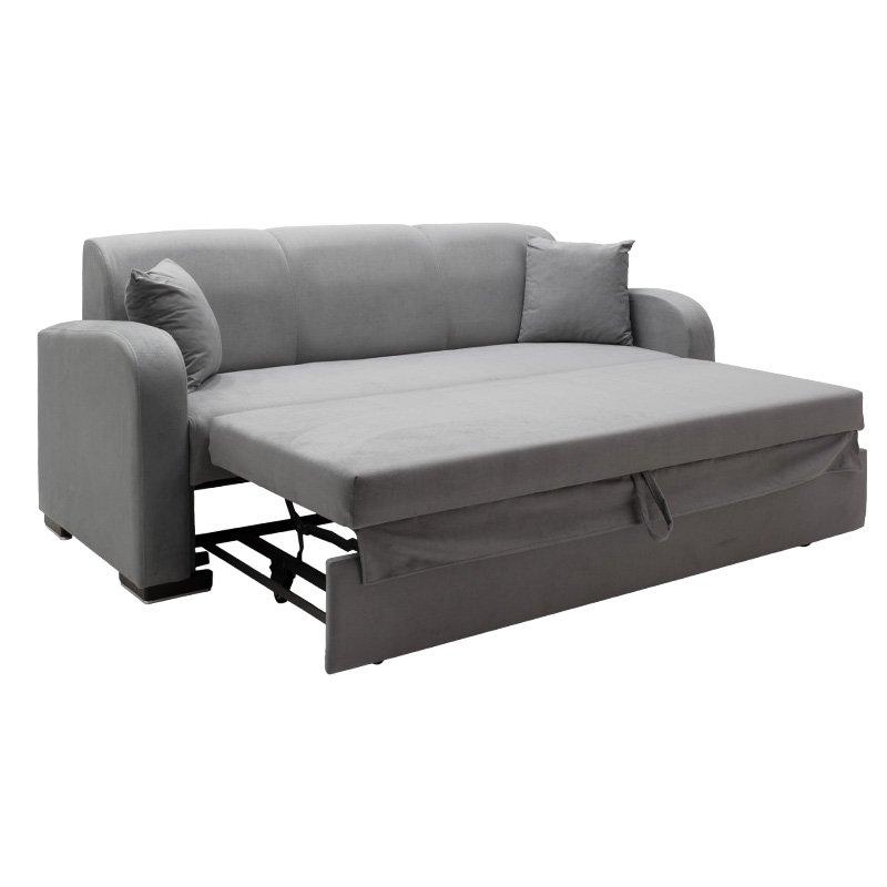 Kαναπές κρεβάτι Xania pakoworld 3θέσιος ύφασμα σκούρο γκρι 208x82x89εκ