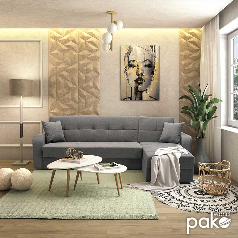 Γωνιακός καναπές κρεβάτι Canto pakoworld αναστρέψιμος ύφασμα γκρι 270x156x85εκ