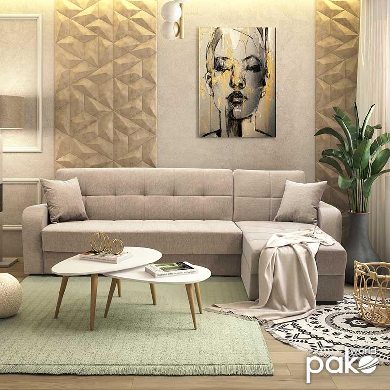 Γωνιακός καναπές κρεβάτι Canto pakoworld αναστρέψιμος ύφασμα γκρι-μπεζ 270x156x85εκ