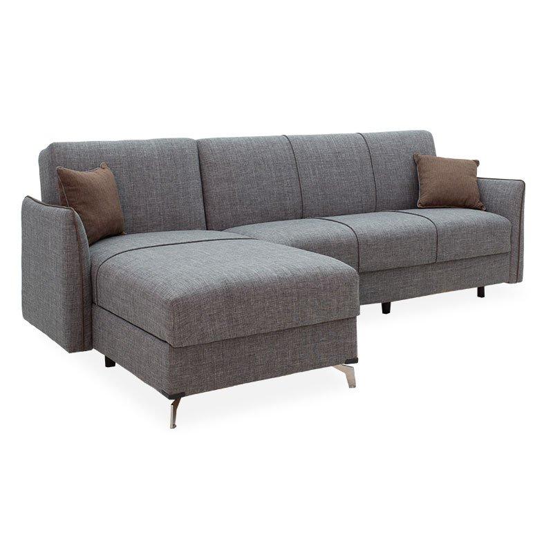 Γωνιακός καναπές-κρεβάτι Linus pakoworld αναστρέψιμος γκρι 262x85/150x92εκ