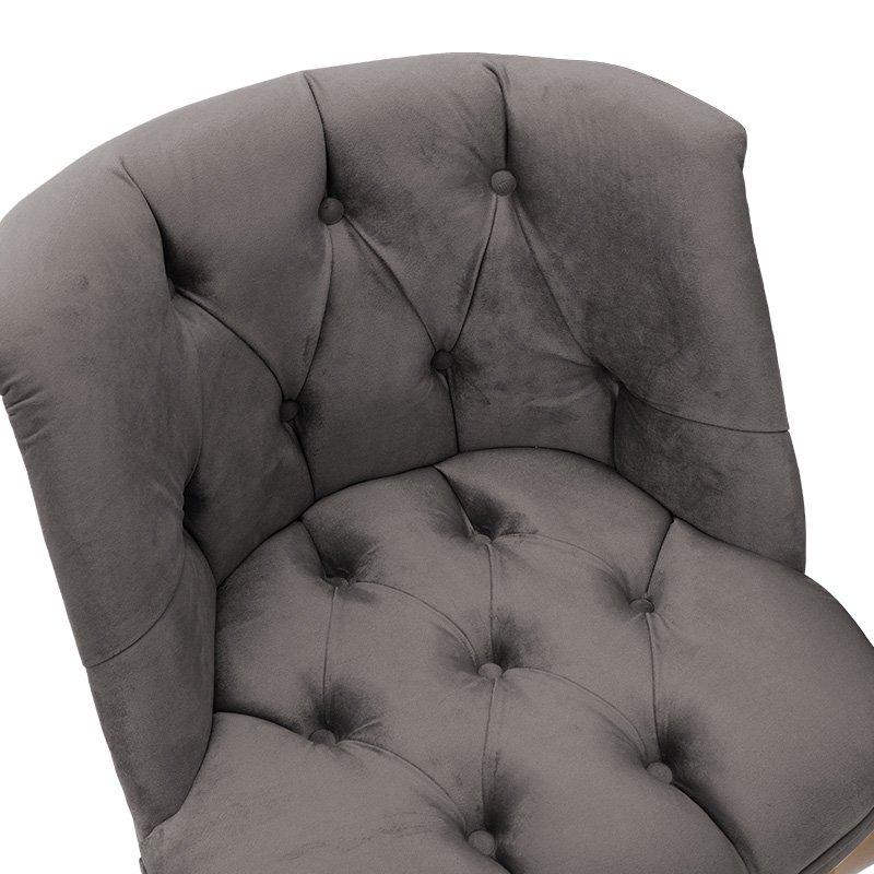 Πολυθρόνα Loreta pakoworld βελούδο γκρι-ανθρακί 59x64x73εκ