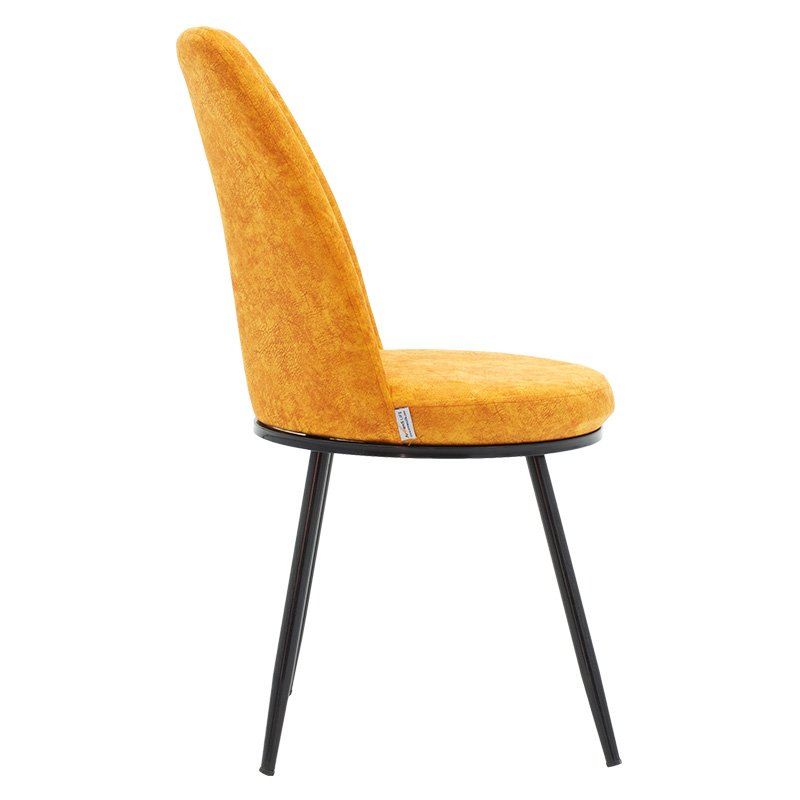 Καρέκλα Farell pakoworld ύφασμα κίτρινο antique-μέταλλο μαύρο