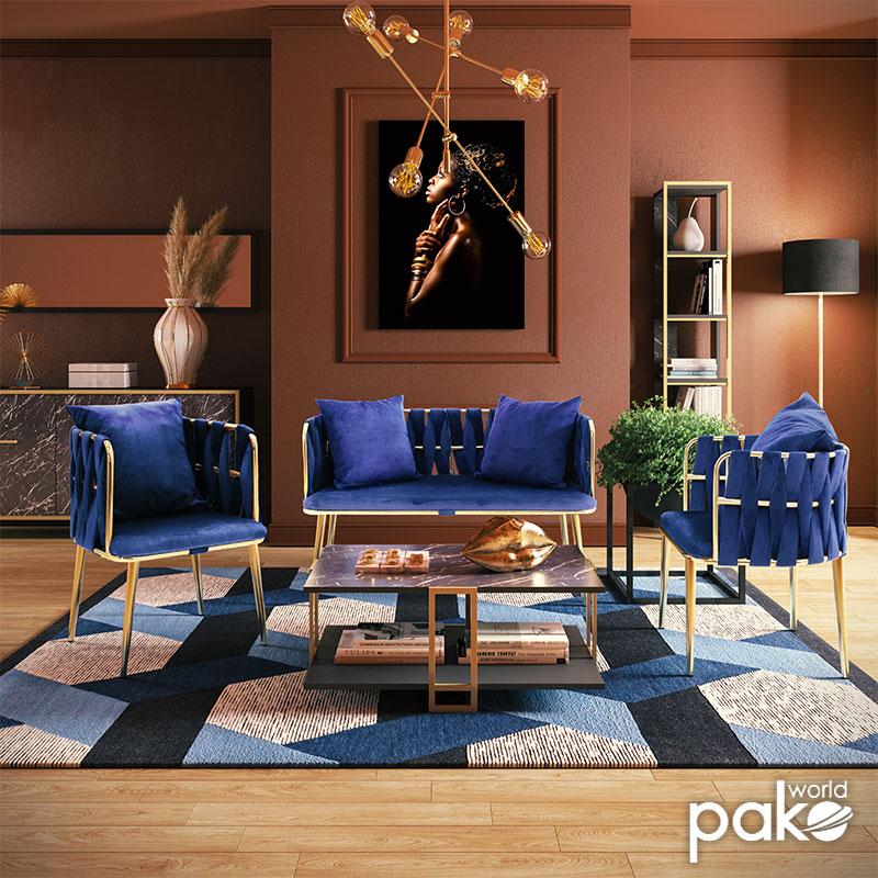 Πολυθρόνα Ivory pakoworld βελούδο μπλε 53x52x77εκ
