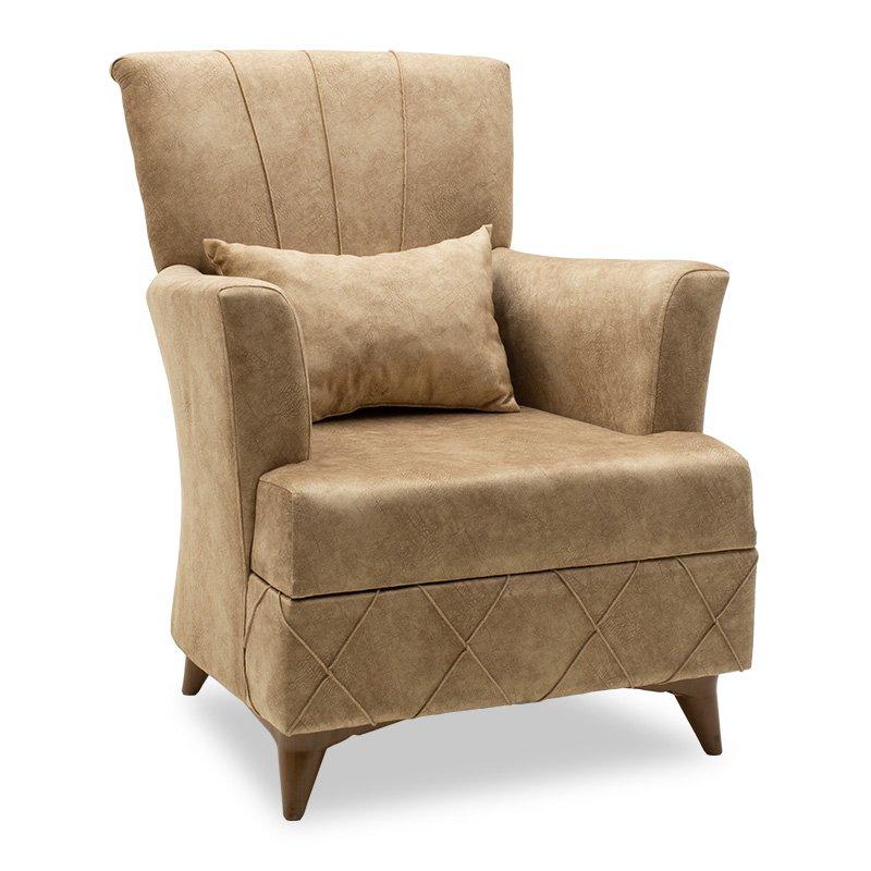 Πολυθρόνα-μπερζέρα Lalezar pakoworld ύφασμα καφέ antique 76x80x91εκ