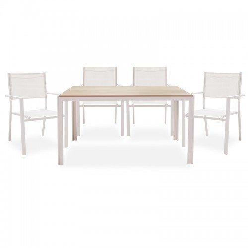 Τραπεζαρία κήπου Nares-Moly σετ 5τεμ pakoworld μέταλλο-textilene λευκό plywood φυσικό