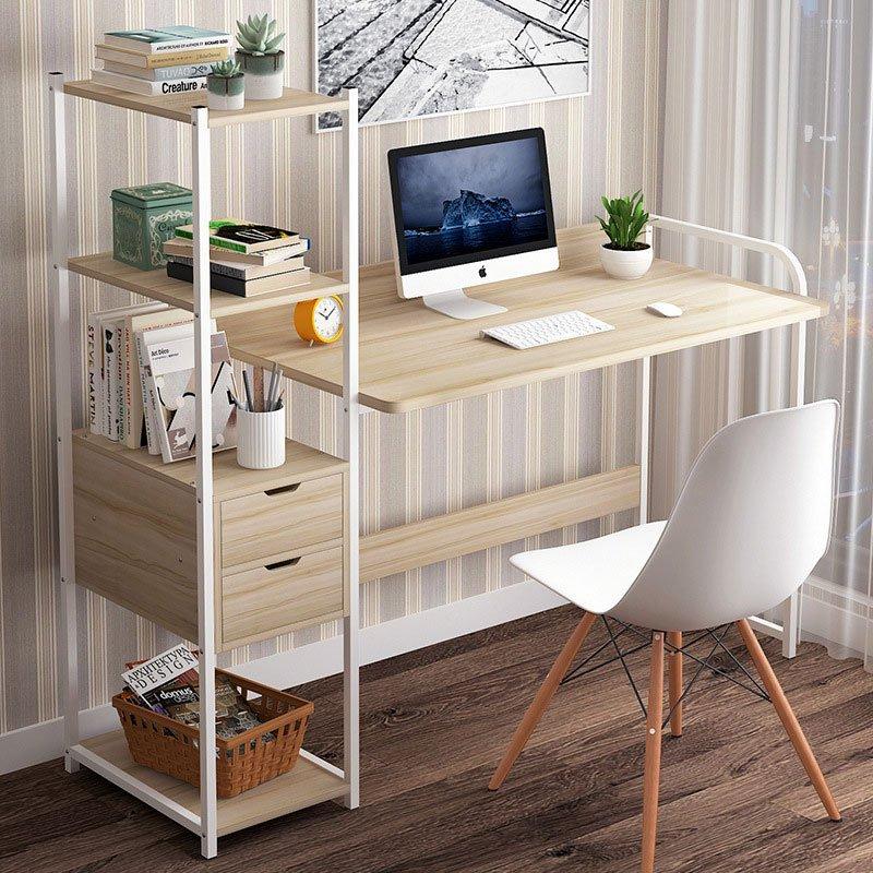 Γραφείο Oban pakoworld αριστερή  ραφιέρα φυσικό-λευκό 124x40x72/111εκ