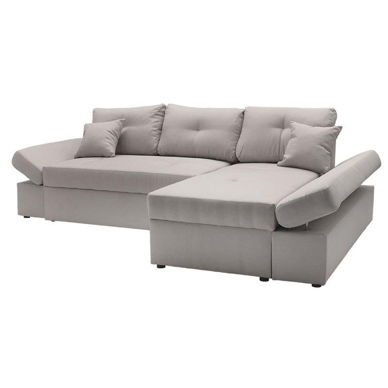 Γωνιακός καναπές-κρεβάτι δεξιά γωνία Bigger pakoworld μπεζ 270x166x86εκ