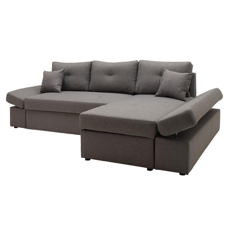 Γωνιακός καναπές-κρεβάτι δεξιά γωνία Bigger pakoworld γκρι 270x166x86εκ
