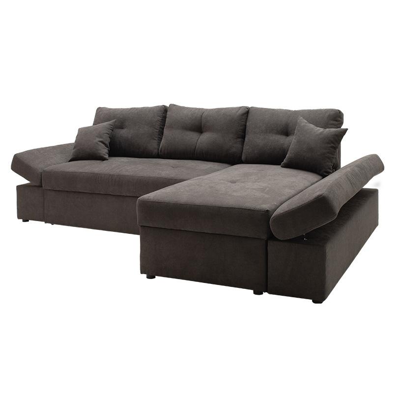 Γωνιακός καναπές-κρεβάτι δεξιά γωνία Bigger pakoworld ανθρακί 270x166x86εκ