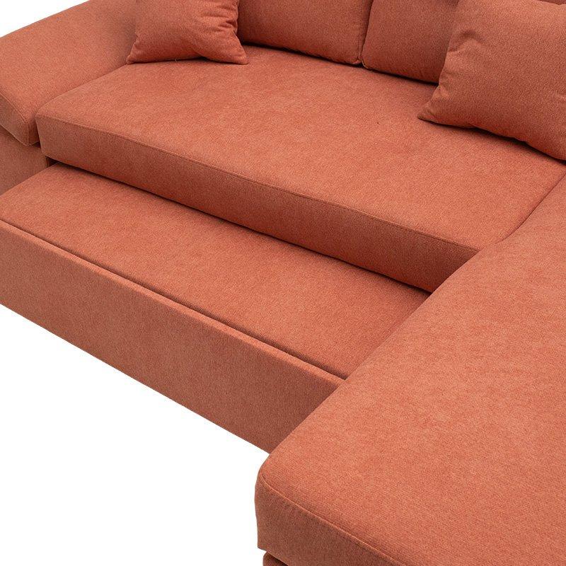 Γωνιακός καναπές-κρεβάτι αριστερή γωνία Bigger pakoworld κεραμιδί 270x166x86εκ