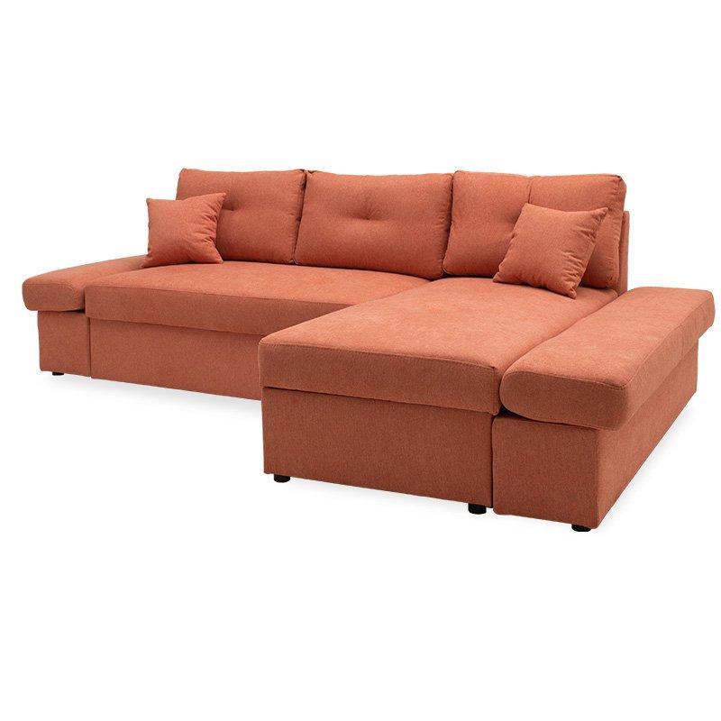 Γωνιακός καναπές-κρεβάτι δεξιά γωνία Bigger pakoworld κεραμιδί 270x166x86εκ
