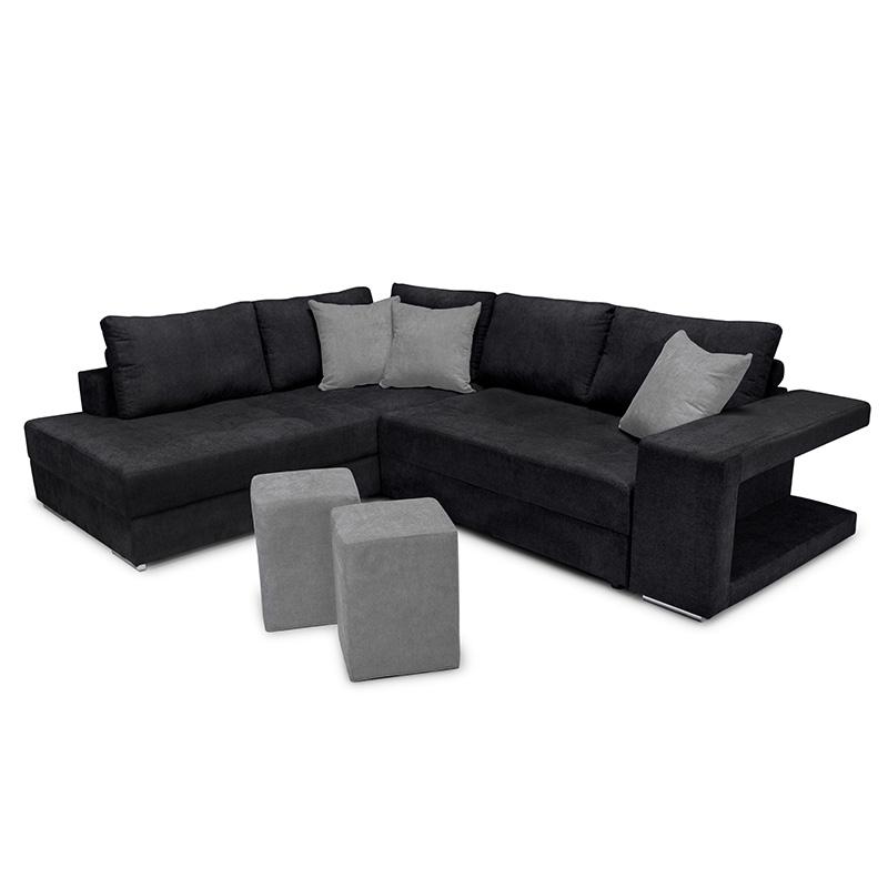 Γωνιακός καναπές-κρεβάτι δεξιά γωνία-σκαμπό Karna pakoworld μαύρο-γκρι 278x218x85εκ