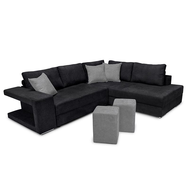 Γωνιακός καναπές-κρεβάτι αριστερή γωνία-σκαμπό Karna pakoworld μαύρο-γκρι 278x218x85εκ