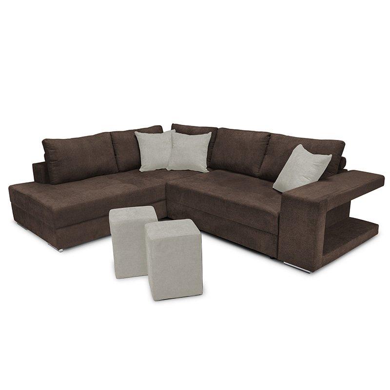 Γωνιακός καναπές-κρεβάτι δεξιά γωνία-σκαμπό Karna pakoworld καφέ-μπεζ 278x218x85εκ