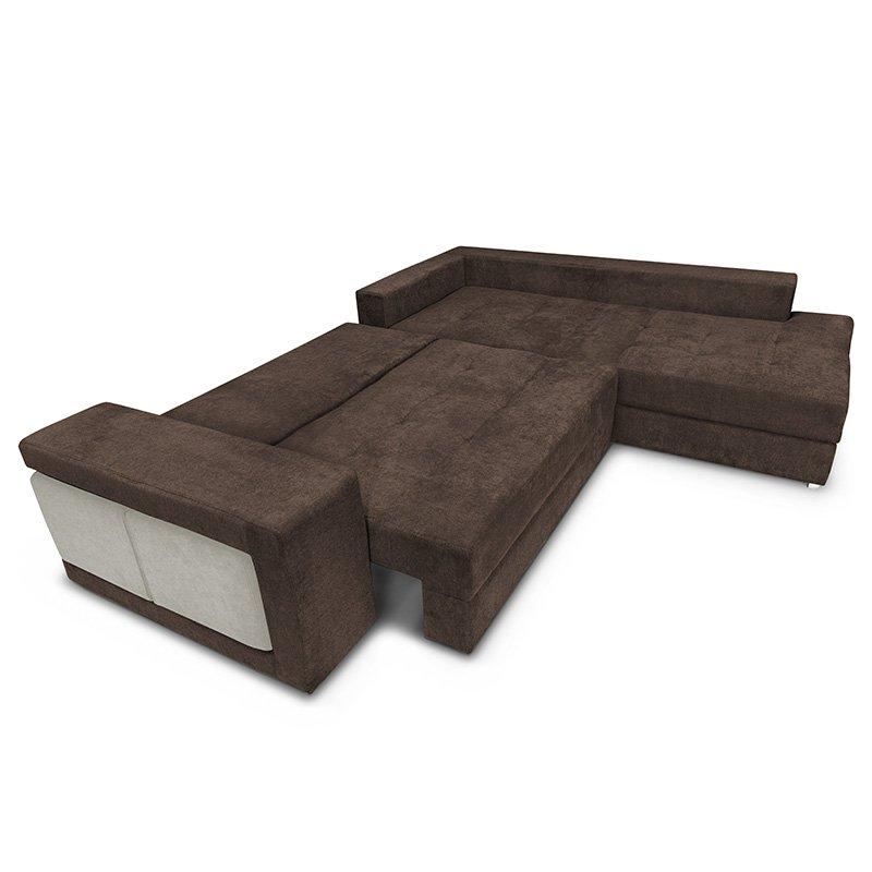 Γωνιακός καναπές-κρεβάτι αριστερή γωνία-σκαμπό Karna pakoworld καφέ-μπεζ 278x218x85εκ
