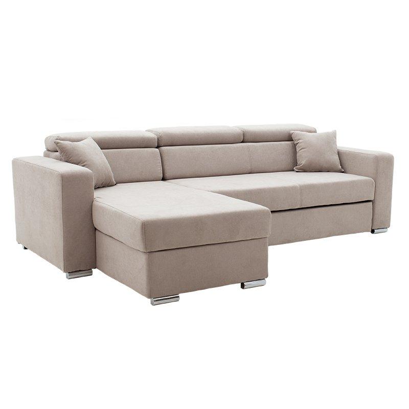 Γωνιακός καναπές-κρεβάτι αναστρέψιμος Lura pakoworld μπεζ-καφέ 255x162x75-90εκ
