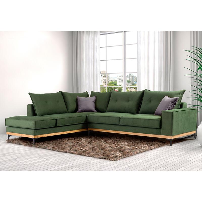 Γωνιακός καναπές δεξιά γωνία Luxury II pakoworld ύφασμα κυπαρισσί-ανθρακί 290x235x95εκ