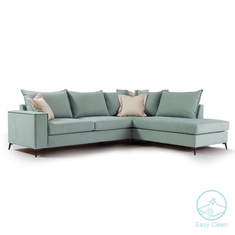Γωνιακός καναπές αριστερή γωνία Romantic pakoworld ύφασμα ciel-cream 290x235x95εκ
