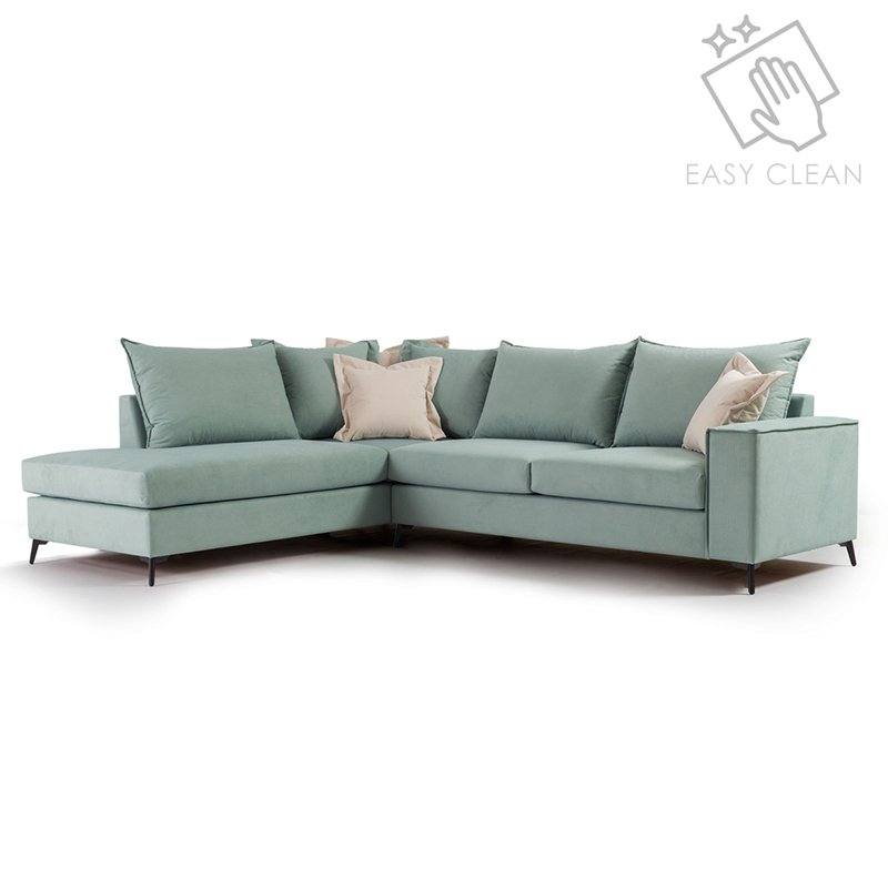 Γωνιακός καναπές δεξιά γωνία Romantic pakoworld ύφασμα Ciel-Cream 290x235x95εκ