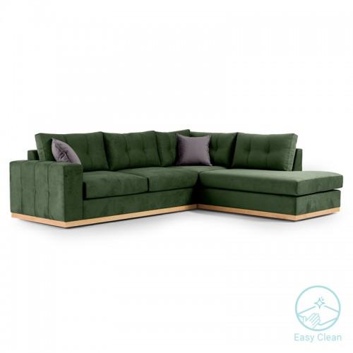 Γωνιακός καναπές αριστερή γωνία Boston pakoworld ύφασμα κυπαρισσί-ανθρακί 280x225x90εκ