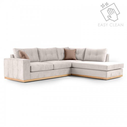 Γωνιακός καναπές αριστερή γωνία Boston pakoworld ύφασμα cream-mocha 280x225x90εκ